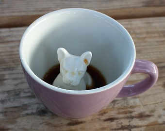 French Bull Dog Mug by CREATURE CUPS | Frenchie Animal Cup |  Purple Red Ceramic Cup | Holiday and Birthday Gift for Coffee & Tea Lovers