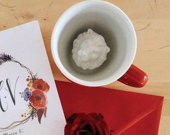 Lion Mug by CREATURE CUPS | Hidden Lion Cup | Big Cats Red Ceramic Cup | Holiday and Birthday Gift for Coffee & Tea Lovers