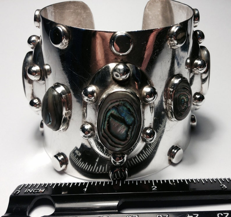 Gorgeous Mod Style Sterling Silver and Abalone Cuff Bracelet