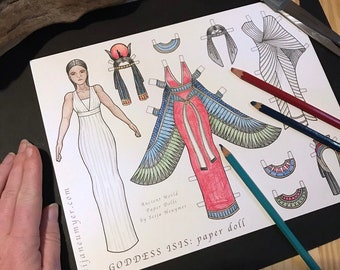 Goddess Isis, Paper Doll, Printable, Coloring Page