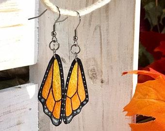 Hand Painted Orange Birch Tree Earrings Autumn Botanical Gift