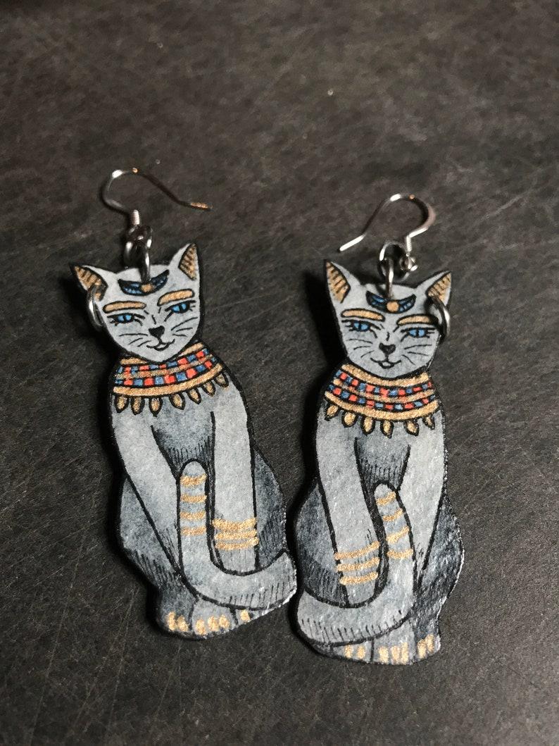 Egyptian Revival Cat Earrings Goddess Bastet Amulet