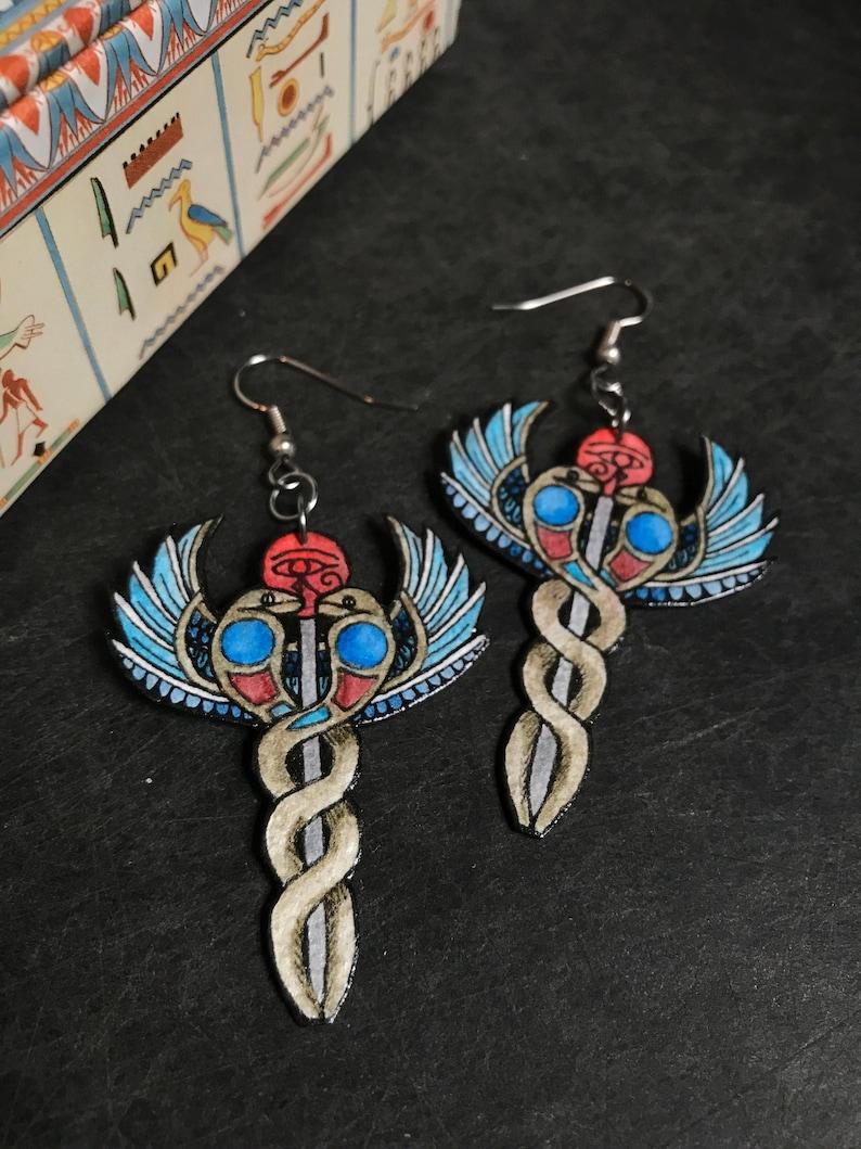Caduceus Wand Snake Earrings
