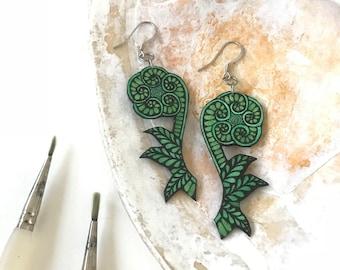 Fiddlehead Fern Earrings Handpainted Watercolor