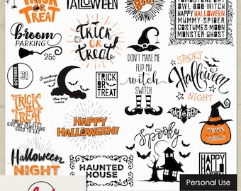 digital and printable overlay word set art instant download halloween night seasonal png images scrapbooking personal use only