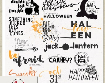 digital and printable overlay word set art instant download happy halloween seasonal png images scrapbooking personal use only