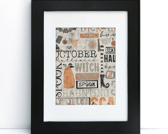 Mishmash Halloween - Digital Printable Art - Home Decor - 8x10 - Instant Download
