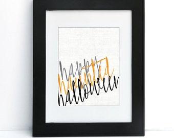 Happy Haunted Halloween - Digital Printable Art - Home Decor - 8x10 - Instant Download