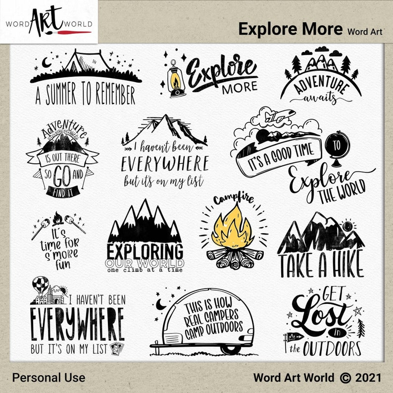 Digital and Printable Overlay Word Art Set  Instant Download image 0