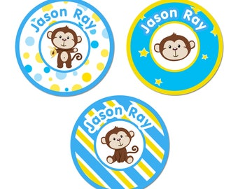 Tiger and Raccoon-64 x 45 mm-Name labels Boy sticker Sticker School 72 Blank Labels Animals Monkey