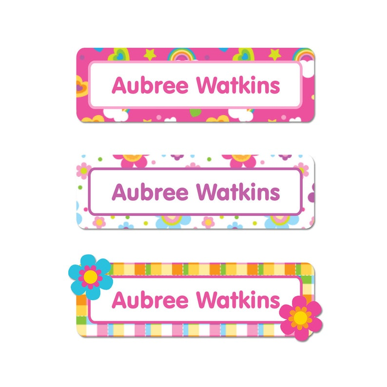 4 Sizes Rectangle Name Labels Flowers and Rainbows