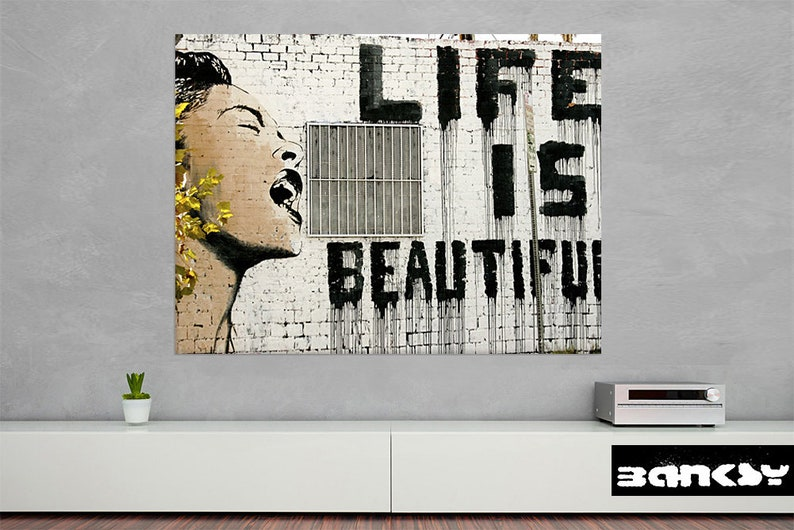 Banksy Life Is Beautiful Canvas Print  Street Art image 0