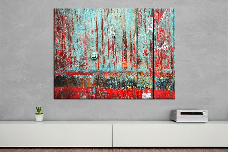 Industrial cyan red  Canvas Print image 0