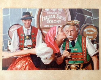 Italian Swiss Colony Little Old Winemaker 1960 Postcard Free Shipping in the USA
