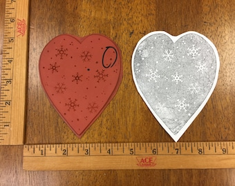 Large Snowflake Heart Unmounted Rubber Stamp