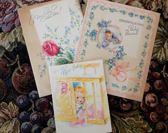 Set of 3 Vintage New Baby Greeting Cards Free Shipping USA