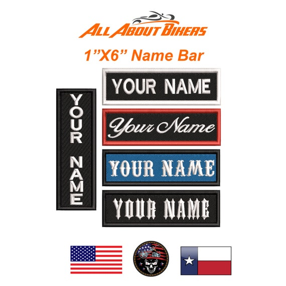 1X6 Custom Embroidered Name Tag Motorcycle Personalized Biker Patch Badge FREE Shipping