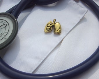 Gold Lung Lapel Pin-CC390G- Medical and Anatomy, Respiratory Accessories-Gifts for Nurses and Doctors