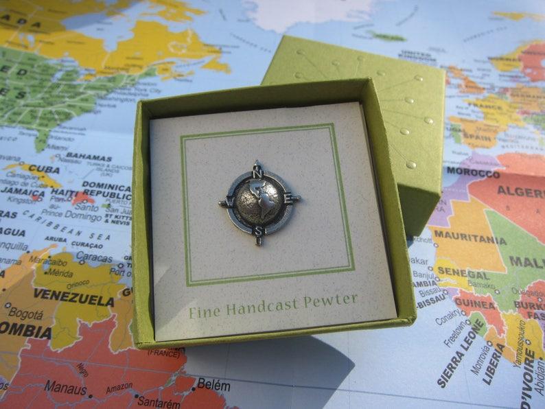 World Compass Lapel Pin - CC454- World, Globe, Earth, Explore, Americas,  North America, South America