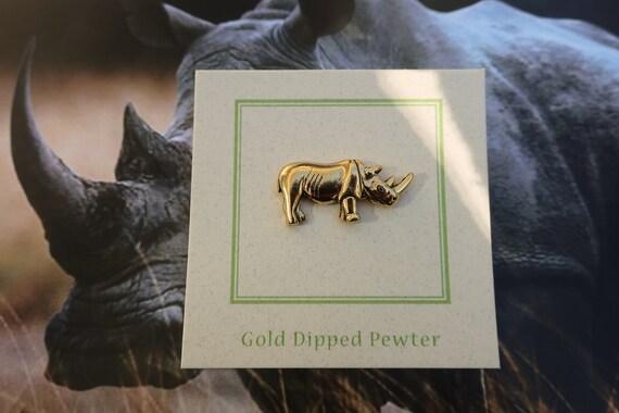 Rhino Badge Pin Brooch in UK Pewter /& Gift Box Option Rhinoceros Gifts Presents