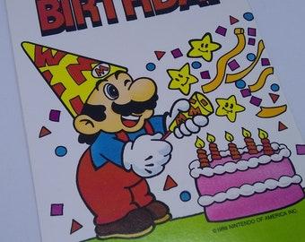 "Super Mario Brothers ""It's Your Birthday"" Vintage 1980s Happy Birthday Greeting Card Nintendo of America 1989 - UNUSED"