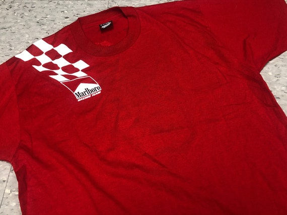 Vintage Marlboro Racing Team T-Shirt Tee Red Scree