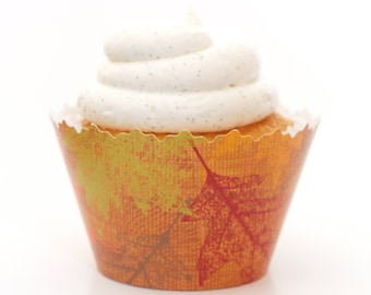 Autumn Leaves Cupcake Wrappers -Set of 12- SW111 Red, Orange & Yellow Fall Colors, Falling Leafs, September, October Season Weddings