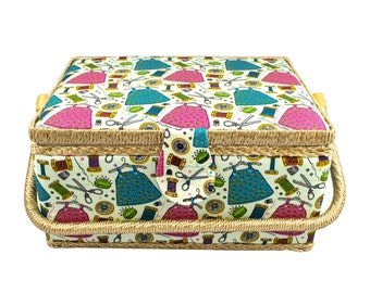Large Fabric Covered Sewing Basket with Insert Tray and Accessories