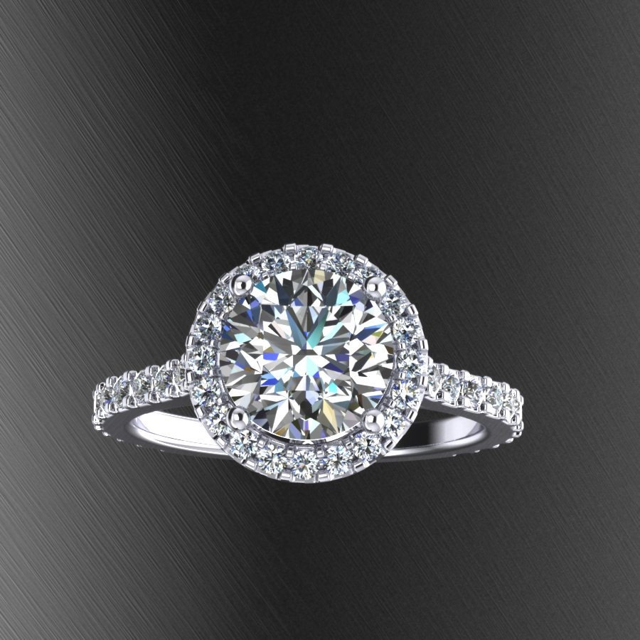Engagement Rings Netherlands: Moissanite Center Engagement Ring With Diamond Halo Style
