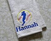 Personalized Softball Sport Towel #4 ST0152 // Softball Gifts // Team Gift // Coach // Softball Mom