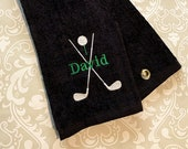 Personalized Golf Bag Towel w/ Grommet ST068 // Golf Gifts for Men // Golf Gifts // Golf Gifts for Women // Father's Day //