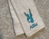 Personalized Female Diver Towel 03   ST064 // Swimmer Gift // Swimming // Team Gift