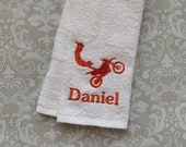 Personalized Dirt Biker Towel STDB01 //Biker Gifts // Dirt Bike Gift // Biking Gift for Men // Bicycle Gifts // Father's Day //