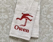 Personalized Hurdle Towel ST0097 // track and field gift // track and field coach gift // hurdler // hurdle coach //