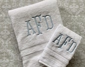 Personalized Serif Bath and Hand Towel Set BTS003SF // Gift // Graduation  // Wedding // Birthday