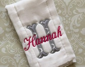 Personalized Initial Burp Cloth #2 BC002 // Burp Cloths // Burp Rags // Burpcloths // Baby Girl // Baby Gift
