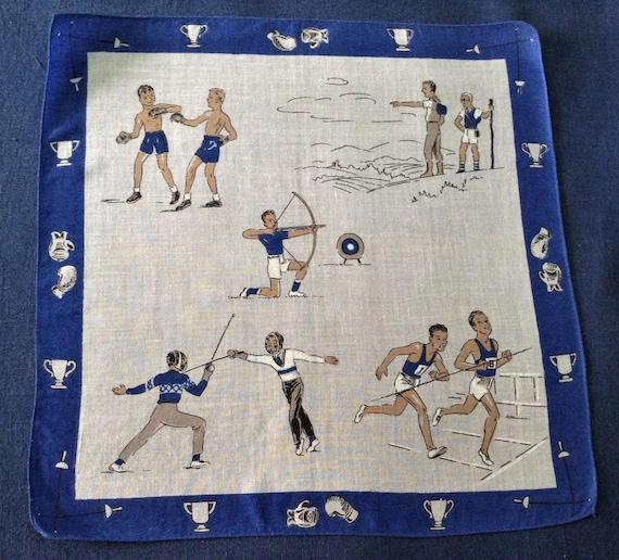 Vintage Sports Handkerchief Boxing Archery Track F