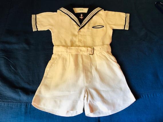 Vintage Boys Sailor Suit White Linen Navy Blue Col