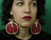 Pomegranate Earrings, Large Statement Earrings, Granada Fruit Earrings, Fall Jewelry