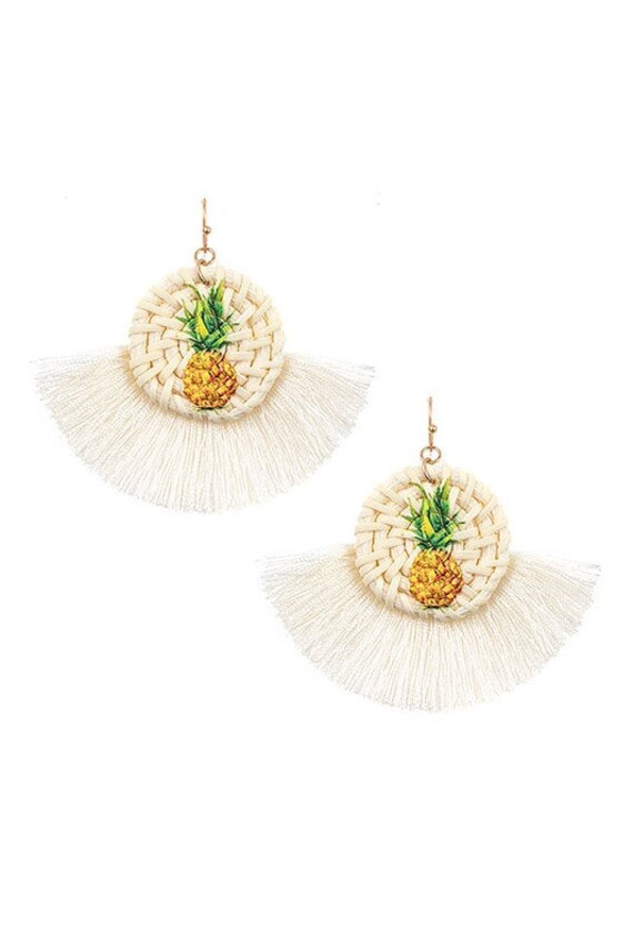Gold Clip On Pineapple Earrings Thread Tassel Dangle Seedbead Lightweight Clipon Design