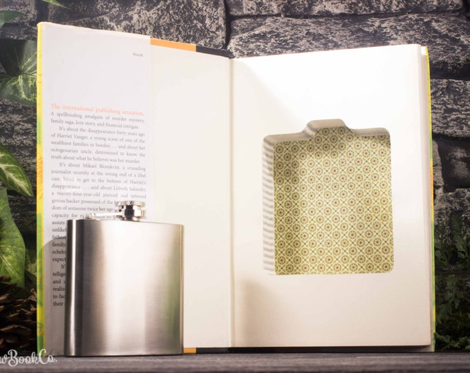 Hollow Book Safe and Hip Flask – The Girl With the Dragon Tattoo – 6oz Hip Flask – Monogram or Personalization