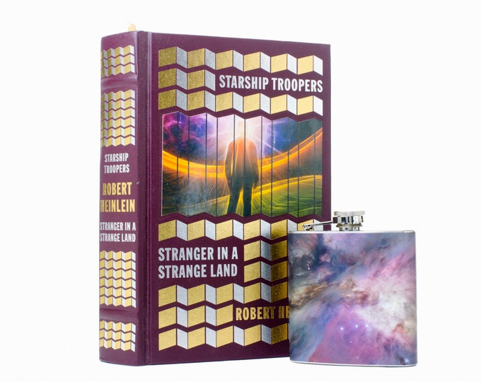 Hollow Book Safe & Galaxy Flask- Starship Troopers and Stranger in a Strange Land