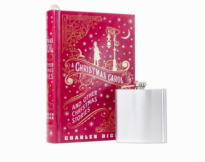 Hollow Book Safe & Flask - A Christmas Carol (LEATHER BOUND) - Charles Dickens