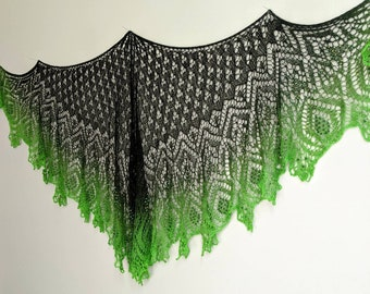 Black to Green Witchy Lace Shawl FREE SHIPPING