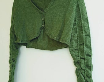 Cropped Cardigan with Ruched Sleeves size XL FREE SHIPPING