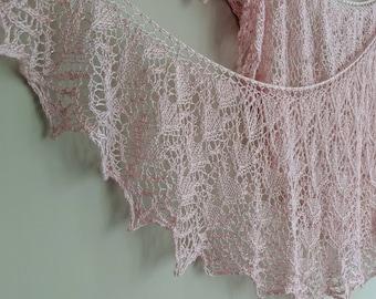 Pink Beaded Silk Shawl FREE SHIPPING