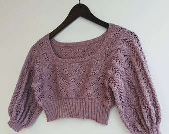 Mauve Lace Puff Sleeve L Crop Top FREE SHIPPING