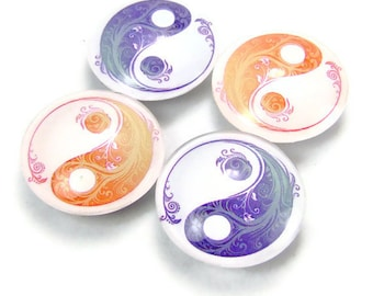 Yin Yang Magnet Glass Fridge Magnet Set of 4 Blue and Tangerine