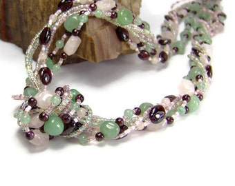 Multistrand Gemstone Necklace, Rose Quartz  and Green Aventurine Gemstone Chakra Necklace