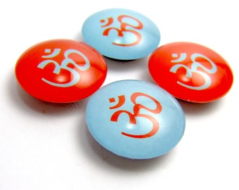 Om Magnet Glass Fridge Magnet Set of 4 Aqua and Tangerine